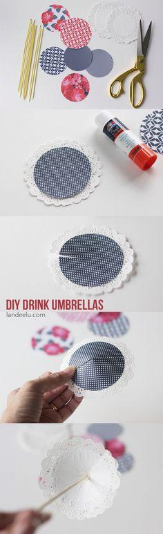 Patriotic DIY Drink Umbrellas | landeelu.com Spruce up your 4th of July celebrations with these adorable drink umbrellas!