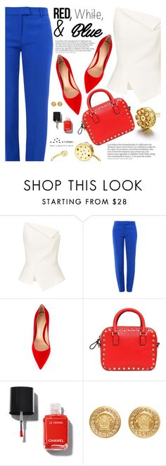 """Red, White and Blue Fashion"" by totwoo ❤ liked on Polyvore featuring Roland Mouret, Boutique Moschino, Gianvito Rossi, Valentino, Chanel and Versace"