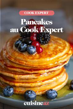 Pour le petit déjeuner ou le brunch, ces pancakes au Cook Expert trouveront des amateurs. #recette#cuisine#pancake#petitdejeuner #brunch #robotculinaire #cookexpert #magimix Pancakes, Scones, Robot, Cooking, Breakfast, Beverages, Food, Cooking Recipes, Waffles