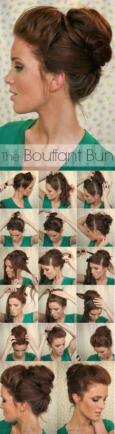 Super Easy Updo Hairstyles Tutorials: Bouffant Bun to use on a bad hair day Bouffant Bun, Bun Updo, Messy Updo, Messy Buns, Hair Bump Tutorial, Loose Bun Tutorial, Simple Updo Tutorial, Ponytail Easy, Hairstyle Tutorials