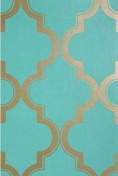 Wallpaper via Urban Outfitters. Turquoise and Gold Marrakesh. Gilded Mint - recreate this for the office