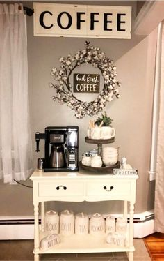 Coffee area cabinet ideas - love all these kitchen coffee bar pictures #coffeebarideas #farmhousedecor #farmhousekitchen #homedecorideas #diyhomedecor #diyroomdecor #farmhousestyle