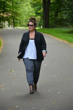 The strappy heels and tuxedo pants are a winning combination! Full Figured & Fashionable: OLD NAVY TUXEDO PANTS