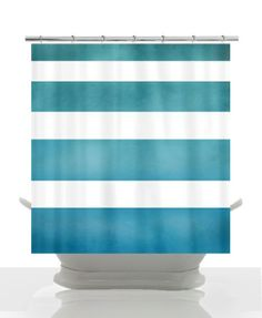 Beach House Chic Shower Curtain - Cloudy Surfer Ombre Stripe - teal, blue, fade , art, minimalist, minimal decor