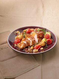 Toskanischer Hähnchen - Auflauf mit Kartoffeln, Zwiebeln und Tomaten