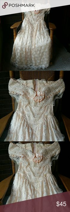 Scott Mc Clintock vintage dress, size 8 Beautiful lace detail in this vintage, soft peach Scott Mc Clintock off the shoulder gown.  Could be for prom/wedding.  A couple small spots as noted in the pictures however, I believe they can be removed with a gentle cleaning...I'm too chicken.  Size 8. Worn once. Scott McClintock Dresses
