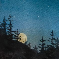Constellations The night sky on a clear night is an endless fascination. And who doesnt find a full moon rising over a distant hill simply magical? Watercolor Night Sky, Night Sky Painting, Watercolor Moon, Watercolor Landscape, Watercolor Print, Watercolor Paintings, Constellations, Good Night Moon, Guache