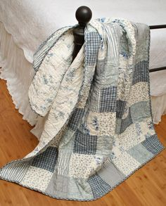 Serene Blue White Patchwork Quilt Throw from Bella Home Fashions