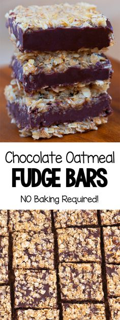 Chocolate Oatmeal Fudge Bars Chocolate Oatmeal, Chocolate Desserts, Healthy Desserts, Just Desserts, Healthy Fudge, Baking Chocolate, Chocolate Truffles, Chocolate Fudge, Easy Baking Recipes