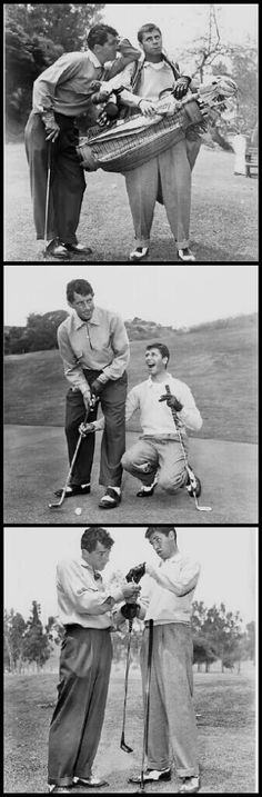 Dean Martin & Jerry Lewis goofing around on the links. In truth, Dino was an avid golfer.