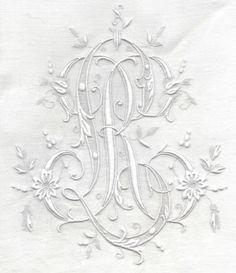 Antique Monogrammed white on white