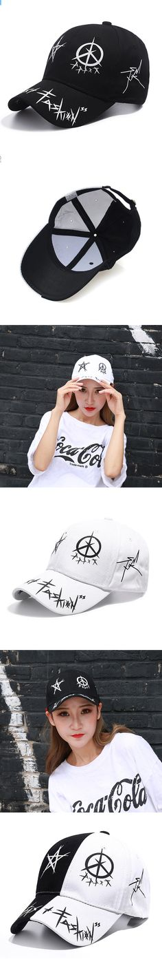 Brush Graffiti Baseball Cap Unisex Patch Safety Pin Curved Hats Hip Hop Hat Bone Dad Men Women Snapback Caps Casquette Gorras