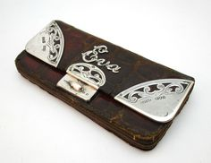 1898 ANTIQUE 19thC VICTORIAN SOLID STERLING SILVER MOUNTED CROCODILE SKIN PURSE