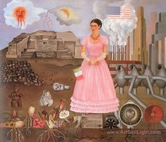 frida kahlo -Self-Portrait on the Border line between Mexico and the United States ...
