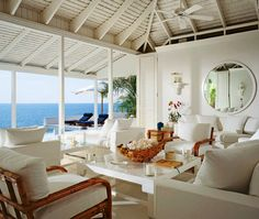 Beach Living Room in Round Hill, Jamaica (Architectural Digest) Architectural Digest, Beach House Style, Beach House Decor, Home Decor, Cali Style, Coastal Living Rooms, Coastal Homes, Beach Homes, Cottage Living