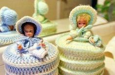 Memories... Crocheted retro Doll Toilet Paper Covers