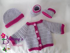 The Two Tone Sweater was, and still is, one of my most popular free patterns, but I had only written it for a 3 month size; and just the sweater itself. So, I decided it would be great to turn into a full set like all my other sweater set patterns. I've included a hat, booties, and sizes 3, 6, 12, and 18 months. This set is perfect for both boys and girls! The simple design makes it very easy to applique; the possibilities are endless!!