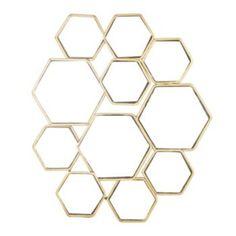 Hexagonal Welded Metal Wall Mirror