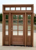 black wooden door with glass transom and sidelights - Google Search