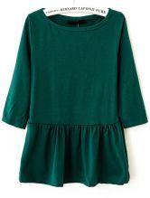 Dark Green Round Neck Long Sleeve Ruffles T-Shirt US$21.80