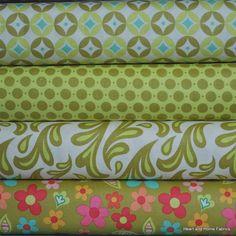 Sweet Nothings Green 1/2 yards Bundle 4 by HeartandHomeFabrics, $22.00