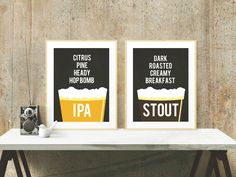 Beer Poster Set - IPA Stout - Beer Lover and Craft Beer Gifts - Home Brew Posters - 5x7 and 8x10 art - instant download by KandCCreative on Etsy https://www.etsy.com/listing/216435362/beer-poster-set-ipa-stout-beer-lover-and