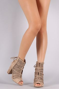 Perforated Suede Lace-Up Chunky Heeled Ankle Boots #chunckyheel