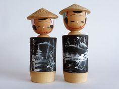 Kokeshi dolls pair,Japanese Kokeshi dolls Bubble Head,Vintage Kokeshi dolls,Hand made,Hand painted Kokeshi Dolls, Bubbles, Hand Painted, Unique Jewelry, Pairs, Japanese, Handmade Gifts, Antiques, Painting