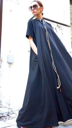 How awesome is this dress? XXLXXXL Maxi Dress / Black Kaftan / Extravagant Long by Aakasha, $99.00