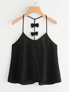 Shop Bow Embellished Y-Back Cami Top online. SheIn offers Bow Embellished Y-Back Cami Top & more to fit your fashionable needs. Girls Fashion Clothes, Teen Fashion Outfits, Girl Fashion, Girl Outfits, Casual Outfits, Fashion Dresses, Cute Outfits, Womens Fashion, Casual Dresses