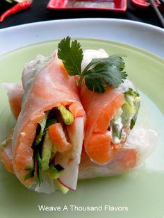 Spicy Salmon Summer Rolls with Wasabi Jalapeno Mayonnaise & Sriracha Dipping Sauce