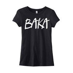 Baka Anime T-Shirt Ladies Anime Shirt Japanese Phrase Kawaii Tee Otaku... ($20) ❤ liked on Polyvore featuring tops, t-shirts, shirts, anime, black, women's clothing, animal t shirts, animal shirts, cotton shirts and screen print shirts