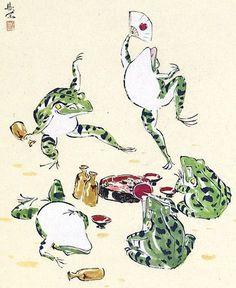 food party of Frogs 西村欣魚picNishimura Kingyo Japanese Tattoo Art, Japanese Painting, Japanese Animals, Frog Illustration, Frog Tattoos, Frog Art, Japan Art, Japan Japan, Art Graphique