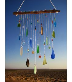 Copious: Beach Glass Windchime With Wire Wrapped Glass Marbles