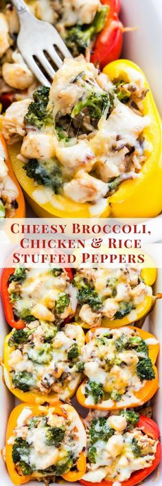 Cheesy Broccoli, Chicken and Rice Stuffed PeppersTraditional stuffed peppers get a makeover! These Cheesy Broccoli, Chicken and Rice Stuffed Peppers are loaded with flavor, kid-friendly and perfect for an easy and healthy comfort food dinner! Easy Dinner Recipes, New Recipes, Cooking Recipes, Healthy Recipes, Healthy Foods, Easy Dinners For Two, Paleo Food, Paleo Dessert, Rice Recipes