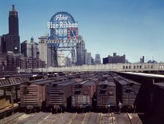 Pabst Blue Ribbon steel sign in Chicago before it was scrapped for the war effort - 1940