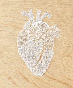 Laser-Cut Papercutting Artwork Anatomical Heart by lightpaper