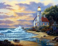 """In this Derk Hansen print a stone cottage provides shelter for the keeper of the lighthouse which guards the entrance to a """"PEACEFUL COVE"""". Available as an open edition in three different unframed ima"""