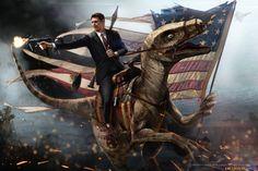 Ronald Reagan Riding a Velociraptor by Jason Heuser.