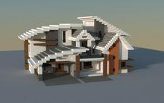 Modern house, a Minecraft creation. Minecraft Villa, Modern Minecraft Houses, Minecraft House Plans, Minecraft Mansion, Minecraft Houses Blueprints, Minecraft City, Minecraft House Designs, Minecraft Bedroom, Minecraft Architecture