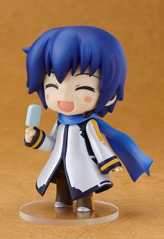 KAITO is joining the cheering squad! project brings Nendoroid KAITO back in a special Cheerful version! He comes with the same smiling face and ice cream as the original Nendoroid KAITO, but also comes. Vocaloid Kaito, Kaito Shion, Chibi, Mikuo, Otaku, Anime Figurines, Anime Toys, Kawaii Cute, Anime Characters