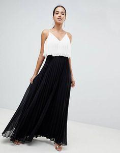 0226a142 ASOS DESIGN crop top midi dress in pleated color block Asos, Maternity  Dresses, Color