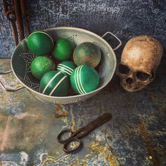 A personal favorite from my Etsy shop https://www.etsy.com/listing/273046838/blue-balls-croquet-balls-set-of-7