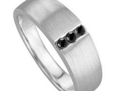 Mens Wedding Band, Men's Wedding Ring,  0.09 Ct.,Black Diamond Ring, Men's Engagement Ring, Men's Ring