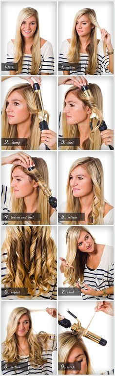Simple :: Curl Class How to curl your hair People always ask how I curl my hair. This is a perfect tutorial on the exact way I do it!How to curl your hair People always ask how I curl my hair. This is a perfect tutorial on the exact way I do it! Curled Hairstyles, Diy Hairstyles, Pretty Hairstyles, Layered Hairstyles, Hair Day, My Hair, Curly Hair, Coiffure Hair, Hair Curling Tutorial