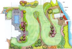 Big Yard Idea - This plan gives some good ideas for what to do with a big yard with a lot of space. For some folks, a lot of lawn is fine and especially if you have someone else take care of it. However, for others, a big lawn isn't very appealing. What I see in these plans is some good examples of mass planting and repeating plant groups throughout the yard and garden that helps create unity and tie different areas of the yard together.