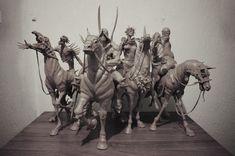 ArtStation - Four Horsemen of the Apocalypse, Sadan Vague Fantasy Creatures, Mythical Creatures, Four Horsemen Of The Apocalypse Tattoo, Pale Horse, Creature Design, Concept Art, Lion Sculpture, Statue, Drawings