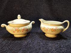 Homer Laughlin Eggshell Nautilus Ferndale Creamer and Sugar Bowl - MINT! #HomerLaughlin