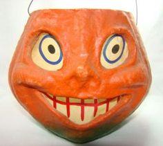 Vintage HalloweenPaper Mache ~ Pumpkin Candy Container / Pail