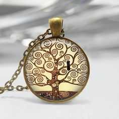 Gustav Klimt tree of life Pendant Necklace Listing is for a Antique Brass pendant and chain.    Pendant measures 25mm (1inch) excluding bail in